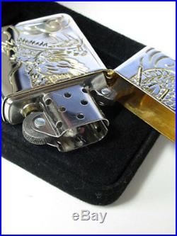 Vintage Zippo Sterling Silver Hand Carving Dragon Gold Plating Japan Limited