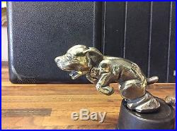 Vintage silver plate dog mascot