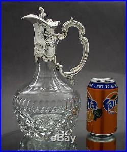 Vintage silver plate repousse crystal decanter pitcher wine claret jug/ewer