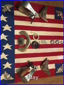 Visalia Stock Saddle Co. Vintage Sterling Silver Conchos Horn Cap Plate Nettles