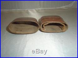 Vntg/antq Leather Cased Campaign Folding Fork & Spoon Set- Bovine Bone Handles