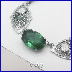 Vtg 1930s Art Deco Silver Filigree Rhodium Plate Glass Enamel Flower Necklace