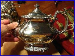 Vtg 5 pc GORHAM tea & coffee set, SHELL & GADROON silver plate/plated