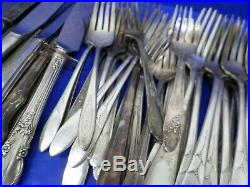 Vtg Antique Craft Silverplate Flatware 220pc Lot Silverware Spoons Forks Knives