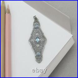 Vtg Art Deco Silver Rhodium Plate Filigree Aquamarine Glass Pendant 4 Necklace