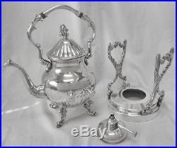 Vtg BIRMINGHAM Berries Slv Plate O/C Tilt Coffee Tea Pot Warmer Stand & Burner