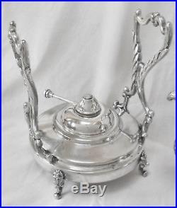 Vtg BIRMINGHAM Grapes Slv Plate O/C Tilt Coffee/Tea Pot Warm Stand &Burner Pot