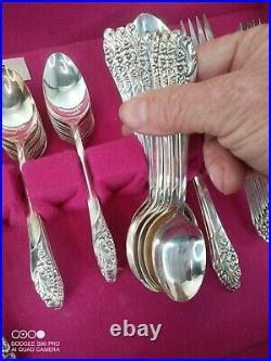Vtg Community Oneida Evening Star Silver Plate 55 Piece Silverware Original Case
