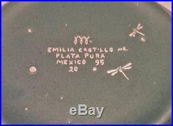 Vtg Emilia Castillo Ceramic. 925 Sterling SIlver Iguana/Lizard Bowl Taxco Mexico