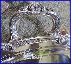 Vtg English Silver Mfg Corp Silver Plate Footed Serving Meat Tray 23.25 x 14