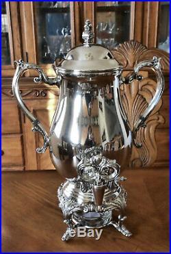 Vtg FB ROGERS Slv Plate O/C Dispensing Coffee Beverage Samovar Urn + Warmer Dish