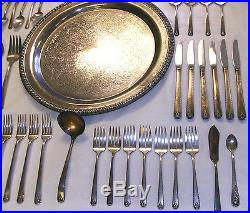 Vtg Prestige Silver Plated Silverware Oneida Bordeaux Pattern + Leonard Tray