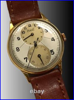 Vtg Rare Piaget Regulateur Two Tone Dial 18kts Gol Plated Case From 1940 Aprox