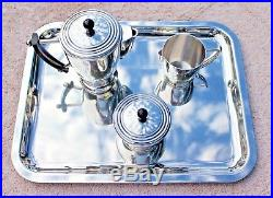 Vtg Silver Plated 4 Pc Christofle France Art Deco Tea Service