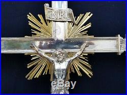 Vtg Silver Plated Set Religious Altar Church Candlesticks Candelabra & Crucifix