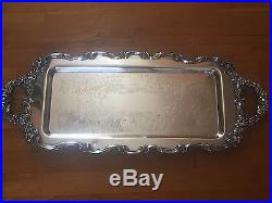 Vtg Silverplate Serving Waiter Tray Handles Footed Ornate Berries Floral Copper