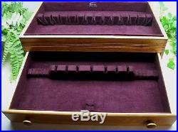 Vtg Sterling Silverplate Flatware JUMBO Wooden Wood Storage Chest Case Box 24+