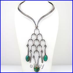 Vtg Taxco Mexico LOS CASTILLO Silverplate & Chrysocolla Collar Bib Necklace G