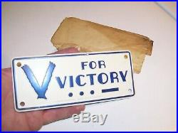 Vtg nos WW2 Victory License Plate HARLEY KNUCKLEHEAD PANHEAD FLATHEAD BOBBER rod