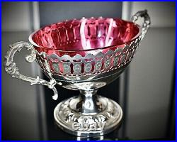 WMF Art Nouveau, Silver Plated Best Nickel, Bonbon, Original Cranberry Glass Signed
