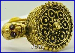WOW! Rare Georgian 18k gold plated silver&enamel MEMENTO MORI SKULL poison ring