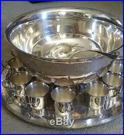Wallace Antique Vintage Rare Punch Bowl Set Silver Plate Wedding Shower Party