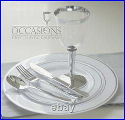 Wedding Party Disposable Plastic Plates and cutlery & wine cups with silver rim