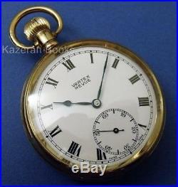 Working Vintage Mans Gold Plated Vertex Revue Fob Pocket Watch 15J British Rail
